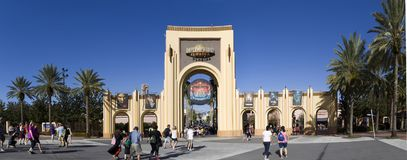 Gate Entrance of  Universal Studios Orlando Florida. ORLANDO, FLORIDA, USA - NOVEMBER 3: Gate Entrance to Universal Studios.  Taken November 3, 2017 in Florida Royalty Free Stock Photography