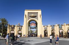 Gate Entrance of  Universal Studios Orlando Florida. ORLANDO, FLORIDA, USA - NOVEMBER 3: People at Gate Entrance to Universal Studios.  Taken November 3, 2017 in Royalty Free Stock Image