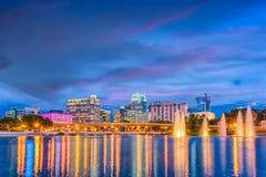 Orlando Florida Skyline. Orlando, Florida, USA skyline on the lake at dusk Royalty Free Stock Photo