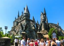 Orlando, Floryda, usa - Maj 09, 2018: Hogwarts kasztel przy Wizarding światem Harry Poter w przygody wyspie Obrazy Royalty Free