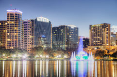 Orlando at Night. With Fountain at Lake Eola Park Royalty Free Stock Image