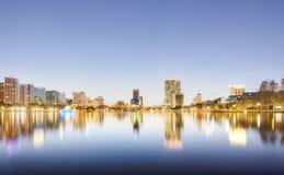 Orlando at Night. With Fountain at Lake Eola Park Royalty Free Stock Photo