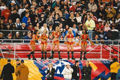 Orlando Rage cheerleaders. The Orlando Rage cheerleaders from the XFL league. (Image taken from color negative Stock Image