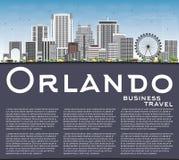 Orlando Skyline con lo spazio di Gray Buildings, del cielo blu e della copia Fotografia Stock