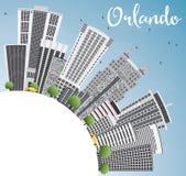 Orlando Skyline con lo spazio di Gray Buildings, del cielo blu e della copia Immagini Stock