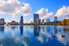 Orlando Skyline Fom Lake Eola Florida US Stock Photography