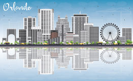 Orlando Skyline with Gray Buildings, Blue Sky and Reflections. Vector Illustration. Business Travel and Tourism Concept with Orlando City. Image for Stock Photo