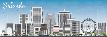 Orlando Skyline with Gray Buildings and Blue Sky. Vector Illustration. Business Travel and Tourism Concept with Orlando City. Image for Presentation Banner Stock Images
