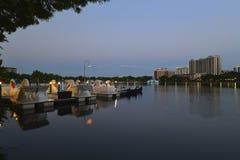 Orlando skyline, lake Eola Park Stock Photography