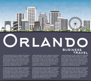 Orlando Skyline met Gray Buildings, Blauwe Hemel en Exemplaarruimte vector illustratie