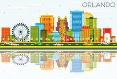 Orlando Skyline met Kleurengebouwen, Blauwe Hemel en Bezinningen royalty-vrije illustratie