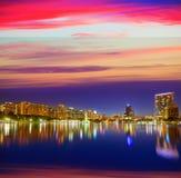 Orlando skyline sunset at lake Eola Florida US Stock Photos