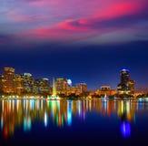 Orlando skyline sunset at lake Eola Florida US Royalty Free Stock Image