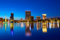 Orlando skyline sunset at lake Eola Florida US Stock Image