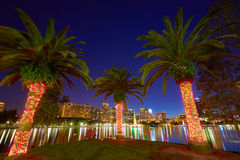 Orlando skyline sunset at lake Eola Florida US Royalty Free Stock Photo