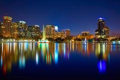 Orlando skyline sunset at lake Eola Florida US Royalty Free Stock Images