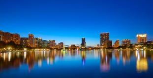 Orlando skyline sunset at lake Eola Florida US Stock Photography