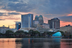Orlando sunset over Lake Eola Royalty Free Stock Image