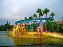 Orlando, USA - January 02, 2014: The themed attractions at Universal Studios Islands of Adventure theme park. Orlando, United States of America - January 02 Stock Photos