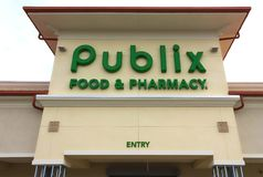 Orlando, USA - April 29, 2018: Brand name and logo of Publix supermarket chain on rooftop of store stock photo