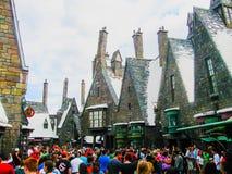 Orlando USA - Januari 02, 2014: Besökare som tycker om Harry Potter de themed dragningarna och, shoppar på Hogsmeaden Arkivbilder