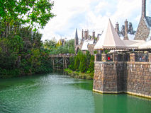 Orlando, USA - January 02, 2014: Visitors enjoying the Harry Potter themed attractions and shops at the Hogsmeade Stock Photos