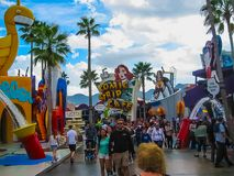 Orlando, USA - January 03, 2014: Game pavilions in the park. Universal Studios is one of Orlando`s famous theme parks. Universal in Orlando, Florida on January Royalty Free Stock Photography