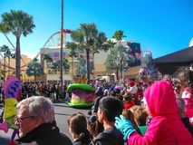 Orlando, USA - January 03, 2014: The people at carnival in the park. Universal Studios is one of Orlando`s famous theme. Parks. Universal in Orlando, Florida on Royalty Free Stock Image