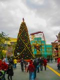 Orlando, USA - January 03, 2014: The roller coaster and game pavilions in the park. Universal Studios is one of Orlando. `s famous theme parks. Universal in Royalty Free Stock Image