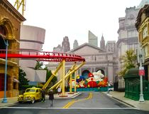 Orlando, USA - January 03, 2014: The roller coaster and game pavilions in the park. Universal Studios is one of Orlando. `s famous theme parks. Universal in Stock Images