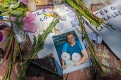 ORLANDO USA - MAJ 05, 2017: Ställe var Omar Mateen som dödas 49 personer och såras 53 andra i ett hat för terroristattack Arkivfoton