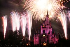 Disney World Castle Fireworks, Orlando. ORLANDO, USA - MARCH 26. 2008: Disney World Castle Fireworks at Magic kingdom theme park in Florida Royalty Free Stock Photography