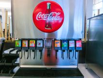 Orlando, USA - May 10, 2018: The Coca Cola automatic machine for people buy soft drink at Orlando royalty free stock photos