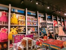Orlando, USA - May 10, 2018: The colorful princess at Disney store indoor shopping mall Orlando premium outlet at royalty free stock photography