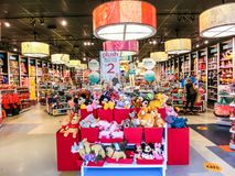 Orlando, USA - May 10, 2018: The colorful toys at Disney store indoor shopping mall Orlando premium outlet at Orlando. USA on May 10, 2018 royalty free stock photo