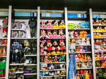 Orlando, USA - May 10, 2018: The colorful toys at Disney store indoor shopping mall Orlando premium outlet at Orlando. USA on May 10, 2018 stock photo