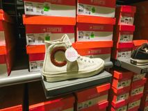 Orlando, USA - May 8, 2018: The Convers sneakers at store in shopping mall Orlando premium outlet at Orlando, USA. On May 8, 2018 royalty free stock photos