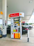 Orlando, USA - May 8, 2018: Filling nozzles at a Shell gas station. Orlando, USA - May 8, 2018: Filling nozzles at a Shell gas station at Orlando, USA on May 8 royalty free stock photos