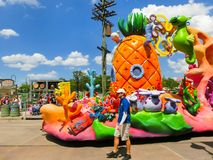 Orlando, USA - May 8, 2018: The large parade with performers at Universal Studio park on May 8, 2018. Universal Studios is one of Orlando`s famous theme parks Royalty Free Stock Image