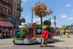 Orlando, USA - May 8, 2018: The large parade with performers at Universal Studio park on May 8, 2018. Universal Studios is one of Orlando famous theme parks Royalty Free Stock Photo