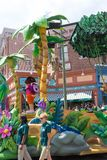 Orlando, USA - May 8, 2018: The large parade with performers at Universal Studio park on May 8, 2018. Orlando, USA - May 8, 2018: The people looking on Royalty Free Stock Images