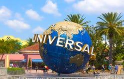 Orlando, USA - May 8, 2018: The large rotating Universal logo globe on May 9, 2018. Orlando, USA - May 8, 2018: The large rotating Universal logo globe on May 8 Stock Images