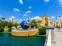 Orlando, USA - May 8, 2018: The large rotating Universal logo globe on May 9, 2018. Orlando, USA - May 8, 2018: The large rotating Universal logo globe on May 8 Royalty Free Stock Photo