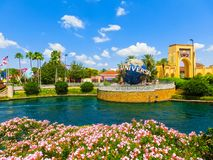 Orlando, USA - May 8, 2018: The large rotating Universal logo globe on May 9, 2018. Orlando, USA - May 8, 2018: The large rotating Universal logo globe on May 8 Royalty Free Stock Images