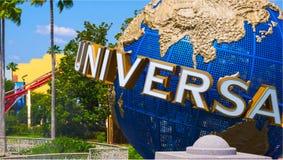 Orlando, USA - May 9, 2018: The large rotating Universal logo globe on May 9, 2018. Universal Studios is one of Orlando famous theme parks Royalty Free Stock Photo