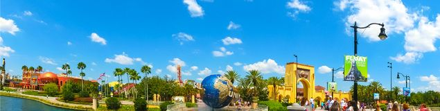 Orlando, USA - May 8, 2018: The people going to main entrance to park Universal Studios royalty free stock photography
