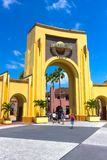 Orlando, USA - May 8, 2018: The people going to main entrance to park Universal Studios. Universal Studios is one of Orlando`s famous theme parks Stock Images