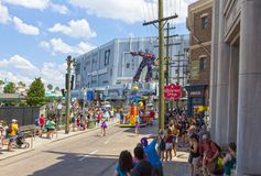 Orlando, USA - May 8, 2018: The large parade with performers at Universal Studio park on May 8, 2018. Orlando, USA - May 8, 2018: The people looking on Stock Photography