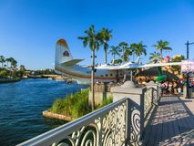 Orlando, USA - May 9, 2018: The people resting at Universal City Walk at the entrance of the Universal Studios Orlando. Orlando, USA - May 9, 2018: The people stock image