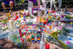 ORLANDO, USA - MAY 05, 2017: Place where Omar Mateen, killed 49 people and wounded 53 others in a terrorist attack hate. Crime in a gay nightclub in Orlando Royalty Free Stock Image